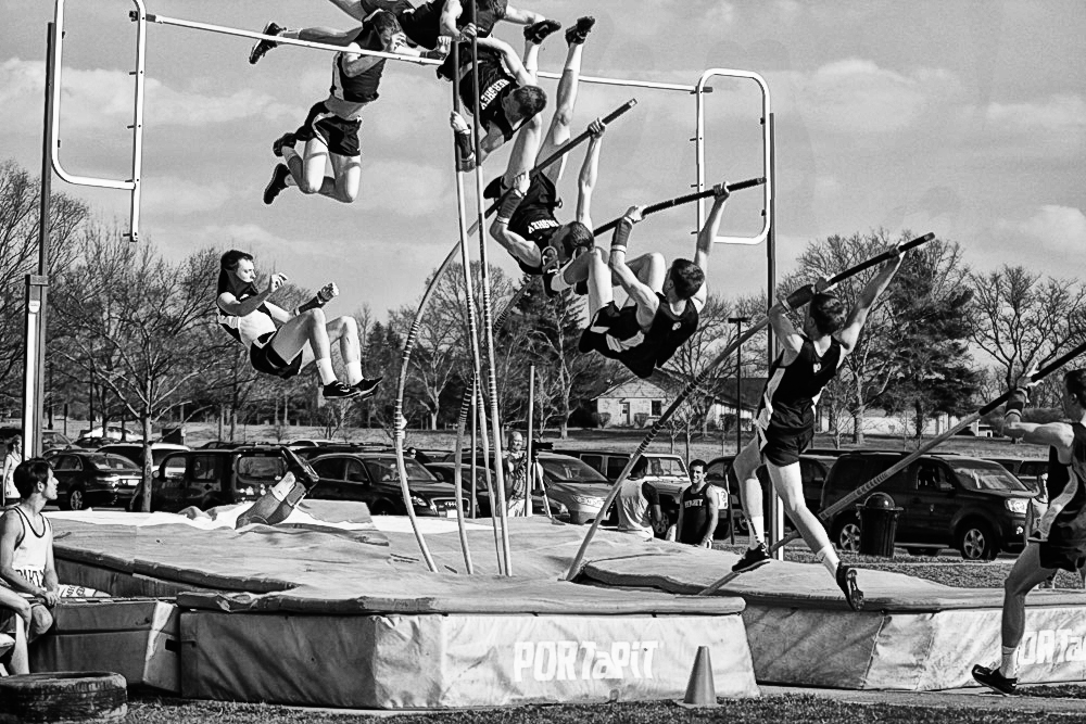Pole Vaulting in B&W