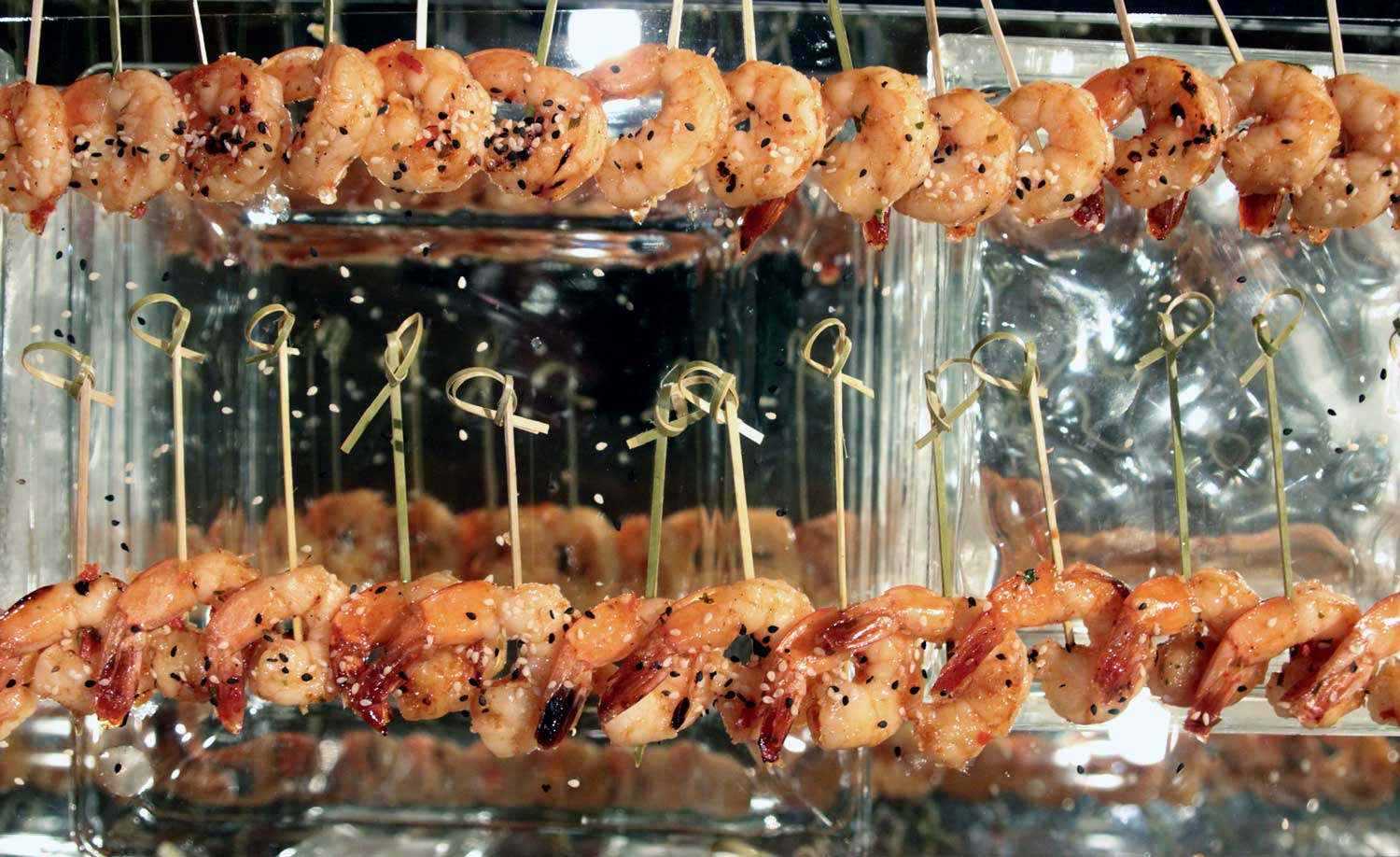 Sweet Thai Chili Grilled Shrimp prepared by Harmony Hall Restaurant