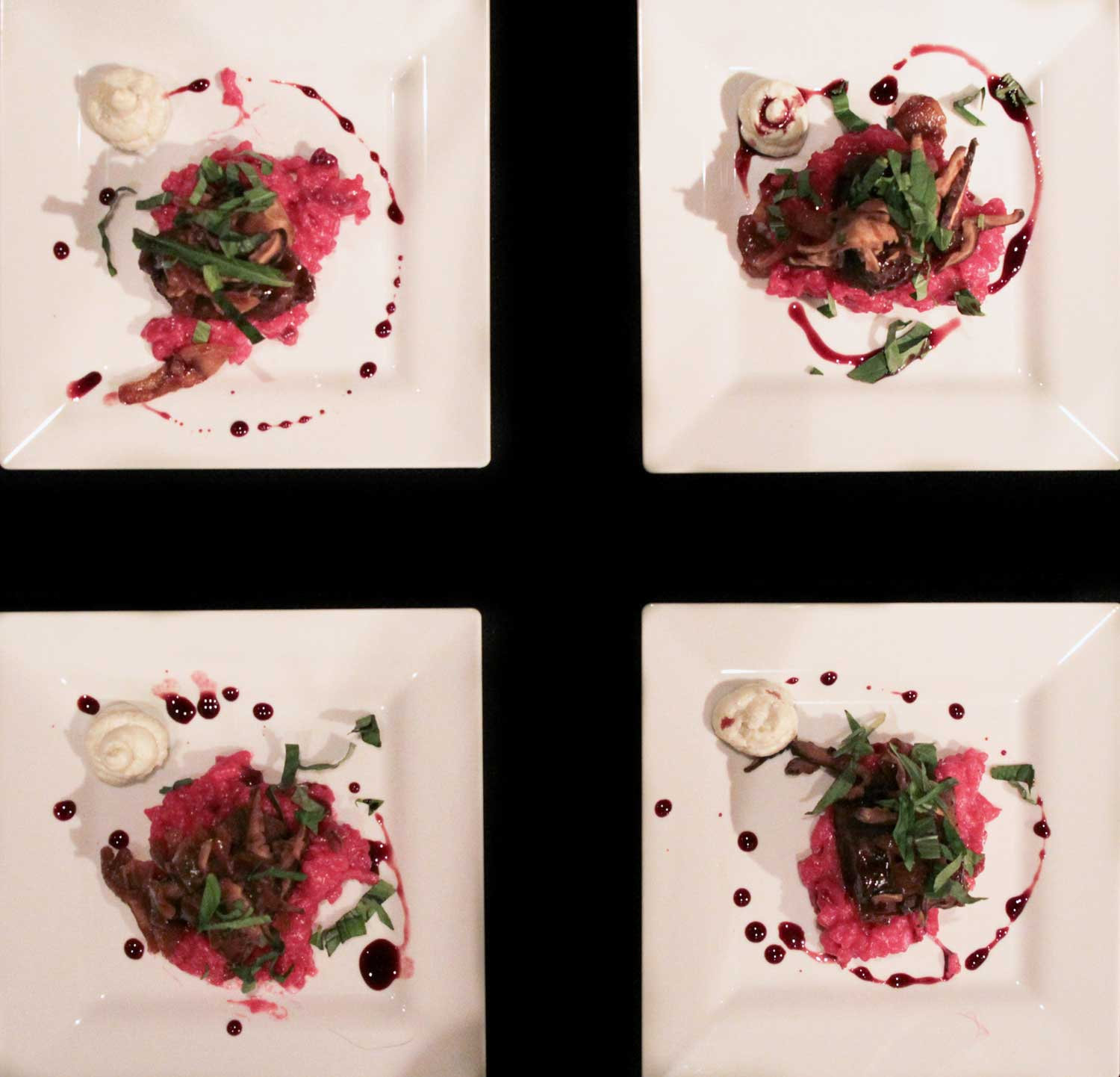 Mongolian Glazed Braised Shortribs…roasted red beet risotto, caramelized onions and shiitakes with whipped gorgonzola prepared by Cafe Fresco
