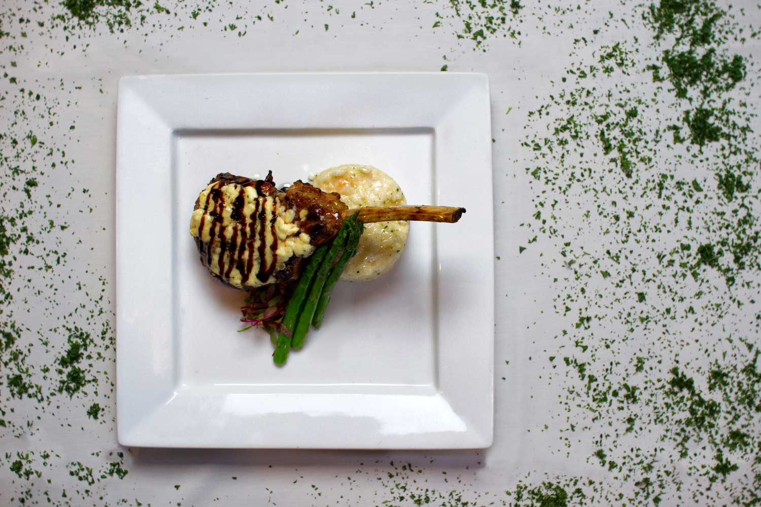 Veal Chop with Gargonzola Cheese and Balsamic drizzle