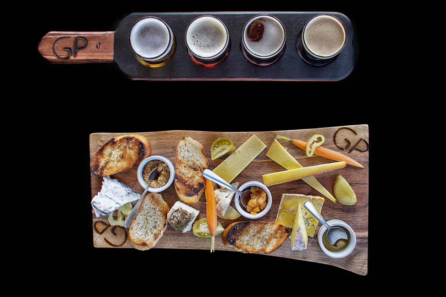 beer and cheese plate prepared by The Garlic Poet