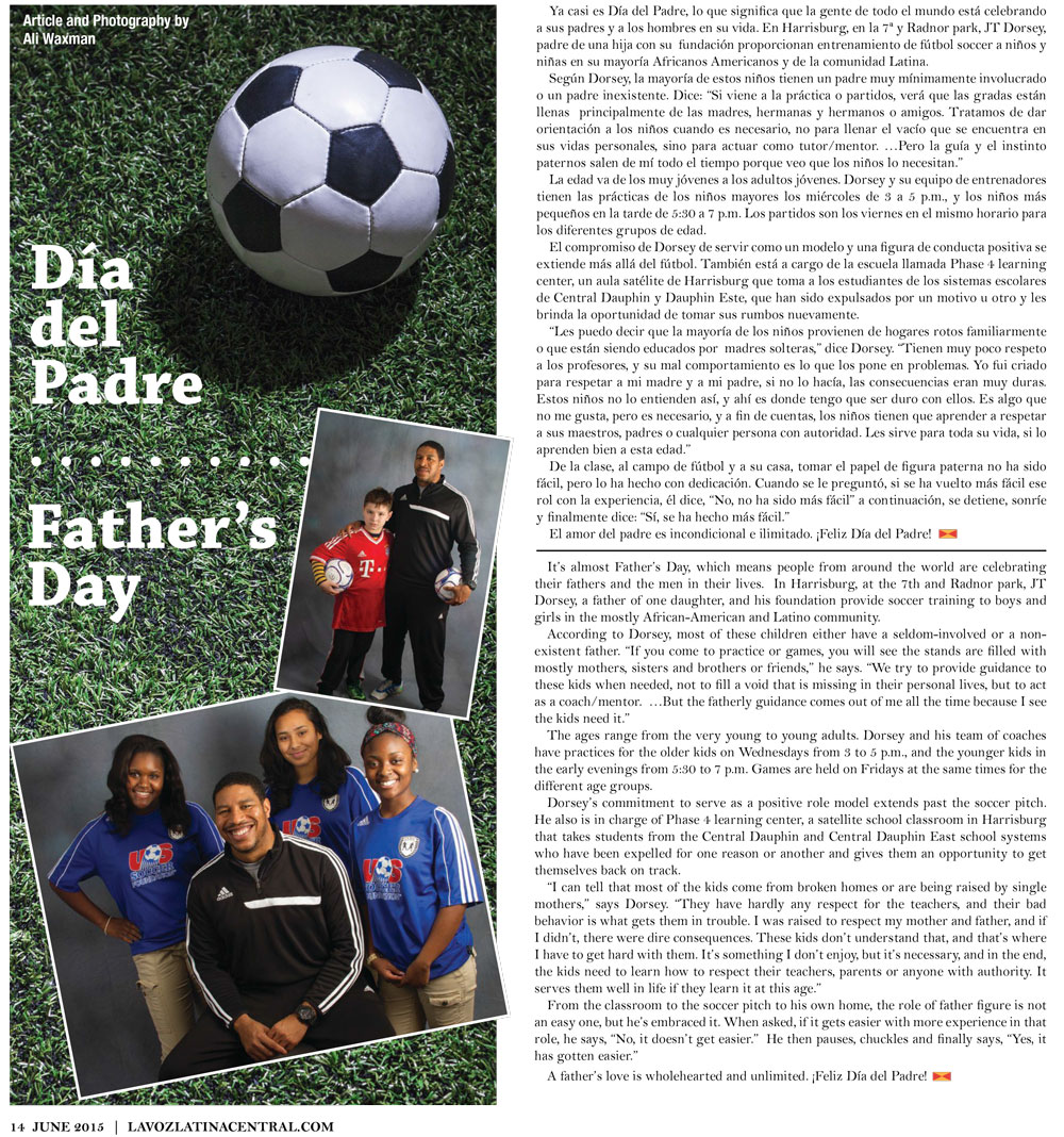 Father's Day article, La Voz Latina Central Magazine, June 2015 issue