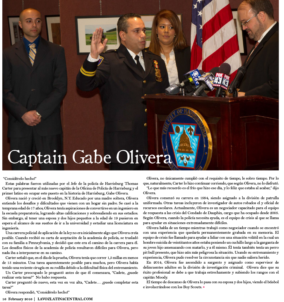 Harrisburg's First Latino POlice Captain, Gabe Olivera