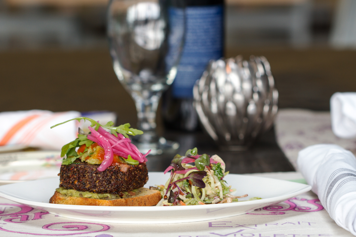 Vrai quinoa burger and slaw