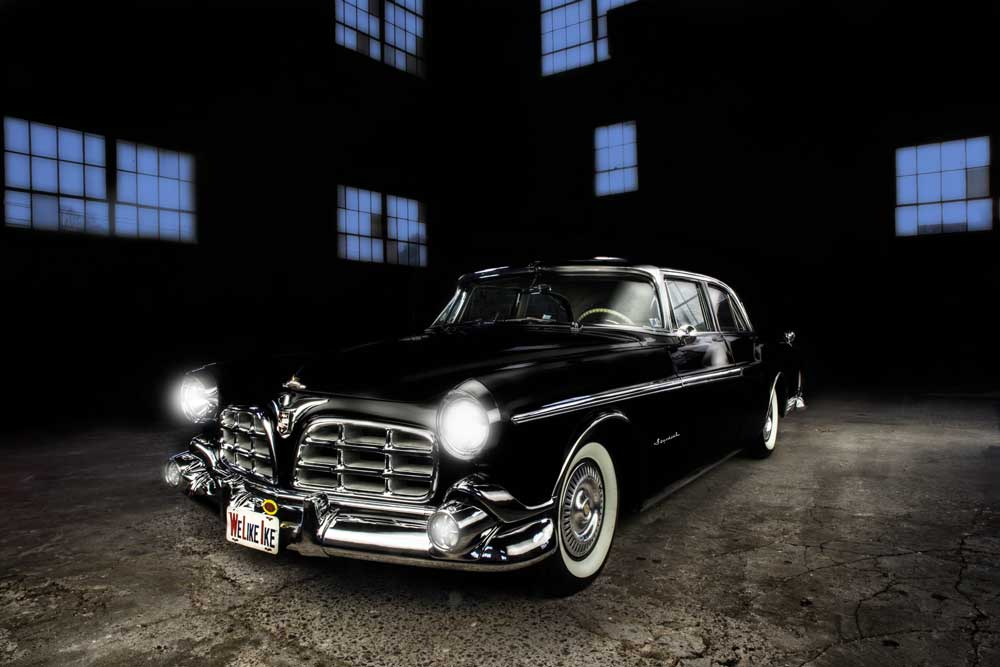 1955 Chrysler Imperial with lights on