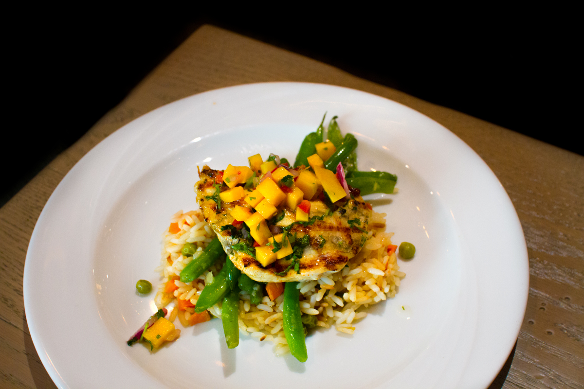 Hilton's charred grilled chicken with mango top